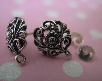 1-5 pairs, Sterling Silver Post Earrings, DAISY FLOWER, 12x10 mm, wholesale nature organic artisan - p1 solo