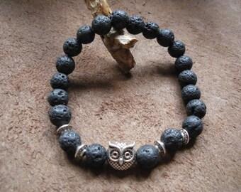 Volcanic lava stone beaded bracelet