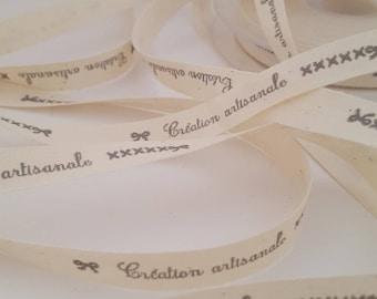 "Set of 5 ribbons message ""Handmade"""