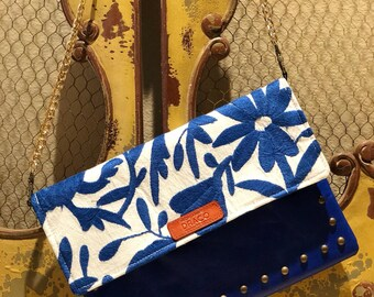 Leather Clutch/Handmade Clutch/ One of a Kind Bag/ Made in Mexico/ Otomi Design