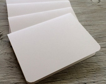 Blank note cards rounded corners r set of 4  crisp white