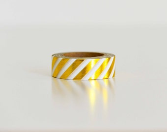 Gold Foil Diagonal Stripe Pattern Washi Tape