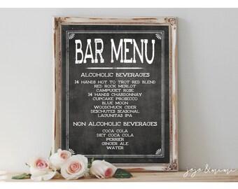 Custom 'BAR MENU' Sign Printable 8x10 OR 11X14 Chalkboard Wedding Printable Party Drink Sign Decor