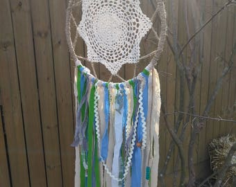 Large Doily Dream catcher, Boho Dream Catcher, Nautical Dream Catcher
