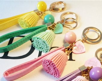 Pastel Color Pom Pom Pur Ball Keychains with Tassle