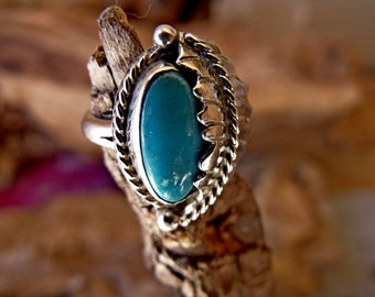 Sterling Silver Ring with Turquoise and Feather  RF669