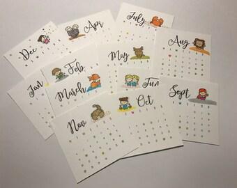 Zodiac Sign Desktop Calendar with Easel