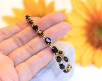 18.70 ct blue sapphire bracelet, tennis bracelet, genuine oval blue sapphires,  gold bracelet