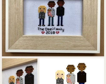 Personalised Family Portrait Cross Stitch, Custom Design, Cross Stitch People, Wedding Gift, Cotton Anniversary