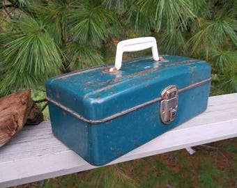 Blue Green Union Steel Metal Tackle Box with Ruler on Lid 1960's