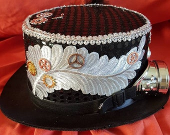 New one off black sequin steampunk top hat (236)