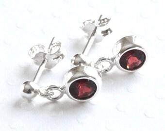 Garnet Stud Earrings, Small Stud Earrings, Sterling Silver Stud Earrings, Red Stone Earrings, Post Earrings, Garnet Jewelry for Women