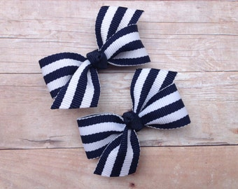 Navy blue striped pigtail bows, navy blue bows, toddler hair bows, pigtail bows, baby bows, girls hair bows, navy bows, hair bows, girls bow