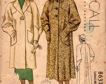 McCall 8637 RARE 1930s Stylish Overcoat Vintage Sewing Pattern Size 14 Bust 32 inches