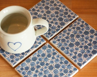 Ceramic coasters – blue floral print tile coasters – set of 4
