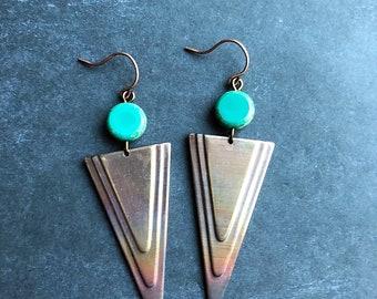 Tribal earrings boho earrings southwest earrings triangle earrings flamed brass earrings rustic earrings dangle earrings drop earrings