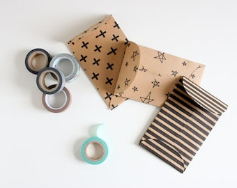 INSTANT DOWNLOAD | DIY Coin or Gift Card Envelope | 3 patterns | Unlimited Printing