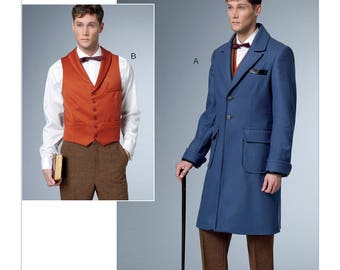 Butterick Sewing Pattern B6502 Men's Single-Breasted Lined Coat and Vest with Back Belt