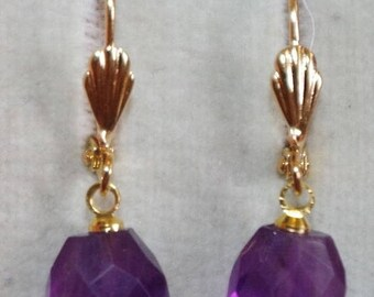 Gem Quality Gorgeous 14K GF Petite Oval Faceted Amethyst Lever Back Earrings