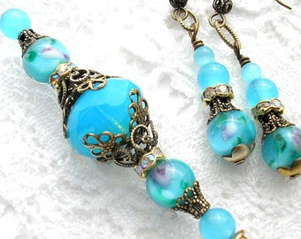 Aqua Blue Glass Beaded Hat Stick Lapel Pin with Earrings Victorian Style Jewelry Set- Morning Glory Designs