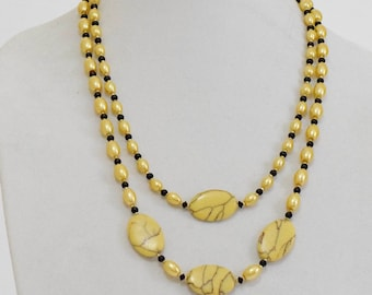Summer Time: Yellow Crystals and Turquoise Necklace and Earrings (385)_