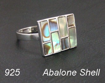 Sterling Silver Ring Gorgeous Abalone Shell. Simply Stunning 925 Sterling Silver Ring  with Gorgeous Colors, Size 9 | Silver Ring 213