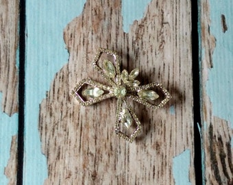 Vintage Rhinestone Bow Pin - Oversized Rhinestone Brooch - Rhinestone Butterfly Pin - Rhinestone Statement Pin - 1960s Jewelry