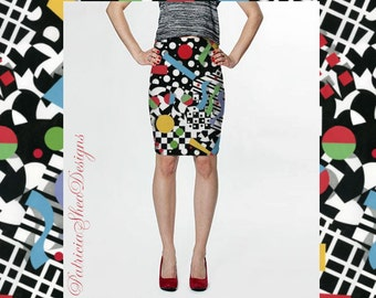 Fitted pencil spandex skirt in Ticker Tape geometric textile pattern by designer Patricia Shea