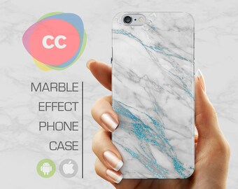 Blue White Marble - iPhone 8 Case - iPhone 7 Case - iPhone X, iPhone 8 Plus, 7, 6, 6S, 5S, SE Cases - Samsung S8, S7, S6 Cases - PC-321