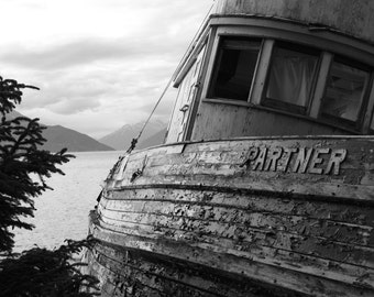 Black and White Boat, Print or Canvas, 90% profits donated to charity, Home Decor, Office Decor