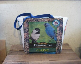 Medium Bird Food Tote Bag Purse - Reusable Recycled Upcycled