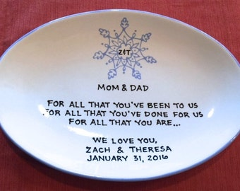 Wedding Gift for Parents Plate  - Thank you Mom and Dad - Thank you parents - Parents gift - Gift for mom and dad - snowflake