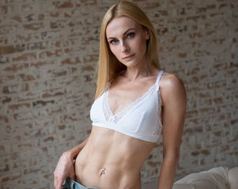 Soft cup lining bra - soft white bralette with white lace