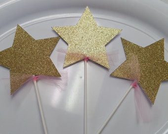 Star Centerpiece, Princess decorations, Princess centerpiece sticks, crown centerpiece sticks, it's a girl baby shower,