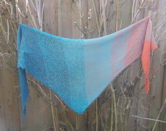 Teal & Deep Orange Triangular Knitted Scarf