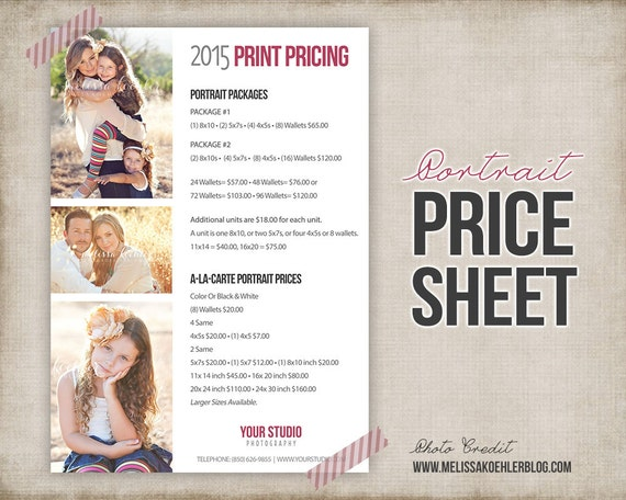 Photography Portrait Price List - Photo Price Sheet - Marketing for ...
