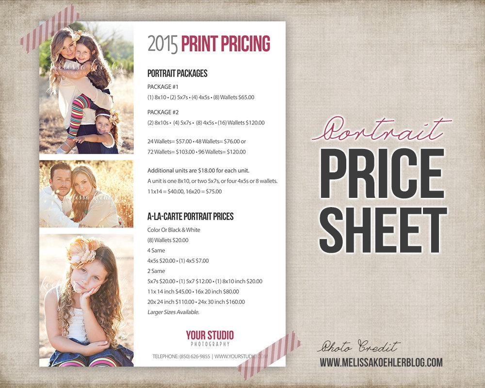 Wedding Photography Pricelist: Photography Portrait Price List Photo Price Sheet