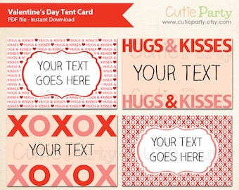 Valentine's Day Tent Card, Valentine's Day Party Printable, Love Theme Party Editable Food Tags, buffet card, gift tags, table place cards
