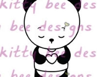 Heart Panda Digital Stamp