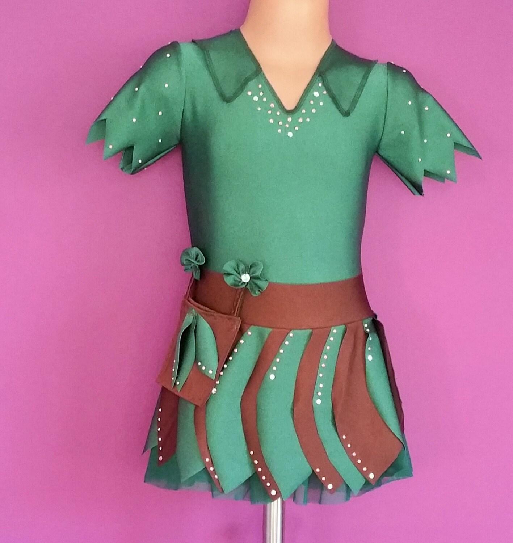 Peter Pan Inspired Figure Skating Dress. Peter Pan Costume.