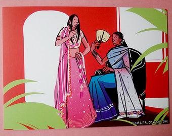 5x7 Mini Original Art Print Gossip Women in Sari/Sarees