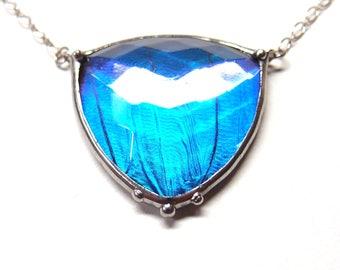 Butterfly Necklace with Antique Faceted Glass Triangle Jewel and Real Blue Morpho Butterfly