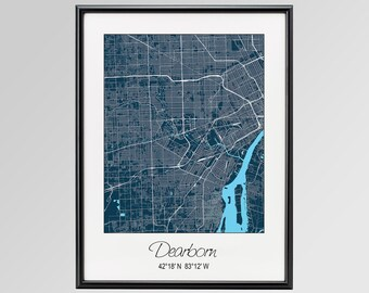 Dearborn Michigan Map, Dearborn City Print, Dearborn Poster, Dearborn Wall Art gift, Custom city, Personalized map