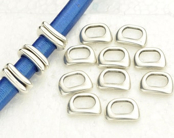 10 Curved Square Narrow Slider - Antique Silver -  for Leather Bracelet - Fits ALL 10x6mm Cord  (JD-8083-10)