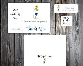 100 Mason Jar with Sunflower Wedding Thank You Notes
