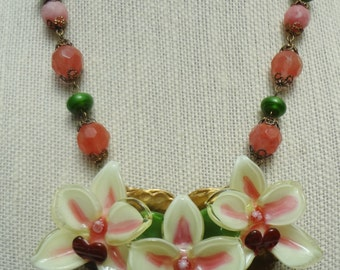 SALE--Hand Made Glass Orchid Necklace--OOAK