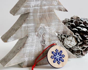 Bamboo Wood Cross Stitch Ornament DIY Kit*Snowflake Ornament *Modern Christmas Embroidery Ornament