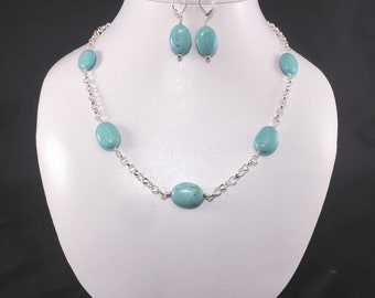 Turquoise Magnesite, necklace and earring set, station necklace, sterling silver, prom jewelry, Easter jewelry