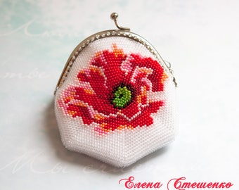 Red Poppy Purse for coins Handmade beadwork Exclusive Fashion accessory Gift for women Unique gift Womens jewelry Beaded accessory