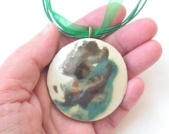Round Abstract Ceramic Pendant Contemporary Clay Necklace Wearable Art Modern Pottery Jewelry Black And Green Choker